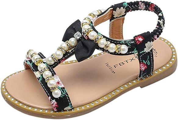 LFHT Littler Girls Casual Open Toe Princess Gladiator Sandals Summer Dress Flats Shoes with Bow