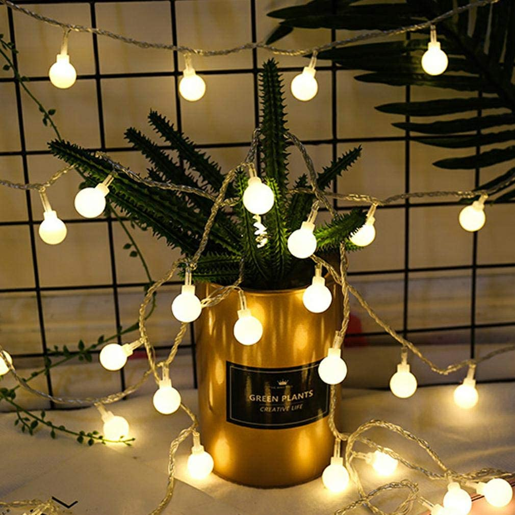 ZIMINGU LED Ball String Lights, 33FT 80LEDs Globe Waterproof Fairy String Lights USB Powered, Decorations for Indoor Party Wedding Christmas Bedroom Patio Tree Garden, Warm White