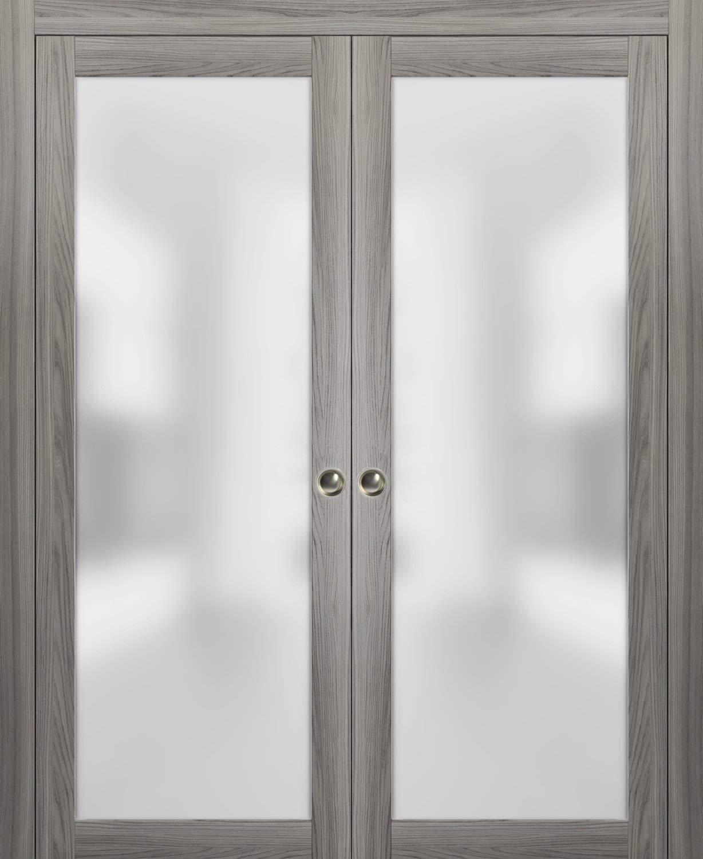 Modern double pocket closet glass doors 60 x 80 planum 2102 ginger ash pocket frame trims pulls rail hardware solid wood interior sliding doors