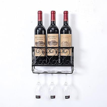 INTASJU Wine Rack montado en la Pared Wine Rack Hierro Colgante Vino Tinto Restaurante Decoración Wall