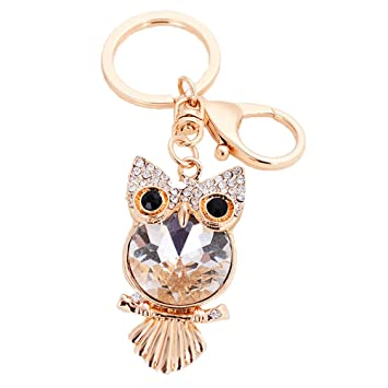 S E Women s Cute Rhinestone Owl Shape Key Ring Metal Car Key Drop Ornament  Keychain Holders 9c77d6cdf9