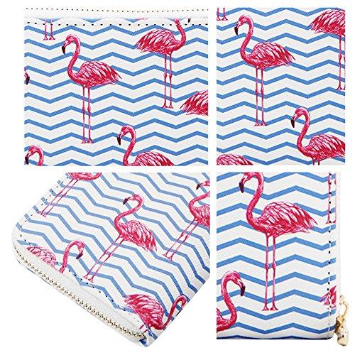 Holder Purse Card Clutch Wallet Credit Women Around Zipper Print Badiya Flamingo Blue q6av0v