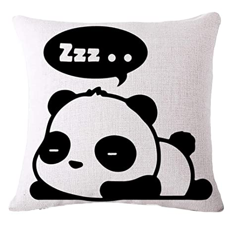 Naisicatar Lindo Cartoon Panda impresión Lino Almohada Funda de cojÍn Cuadrado casa sofá decoración, 1#, Una Talla