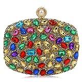 Bridal Women Clutch Purse Sparkling Diamond Studded Crystal Evening Bag (Multicoloured Gold)