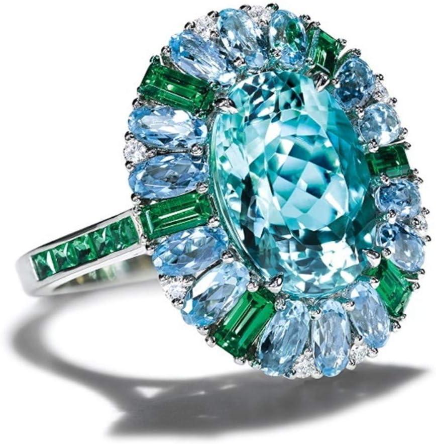 Anillo de boda con incrustaciones de piedra azul marina, anillo de boda de color plateado para mujer, joyería de compromiso, tamaño: 9, 9