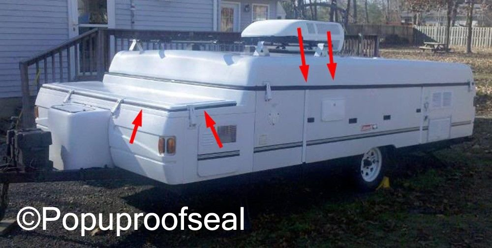 1996-2003 Coleman Fleetwood Popup Trailer Roof Seal & Storage Bin Seal Combo ABS