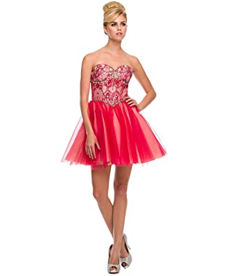 Amazon.com: Unique Vintage Red Strapless Sweetheart Beaded Bodice ...