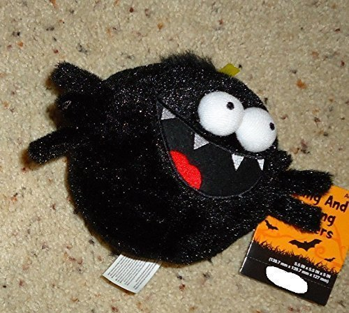 [5 Inch Animated Rolling and Giggling Black Spider Musical Animated Halloween Plush] (Black Spider Animated Prop)