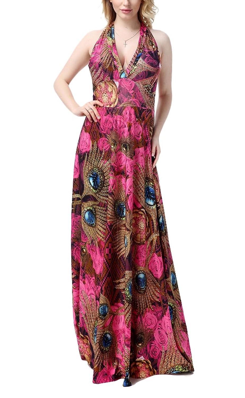 Brinny Damen Sommer Kleid Elegante Cocktail Party Floral Kleider Maxi ärmellosen Chiffon Abendkleid Strandkleid EU 38-50