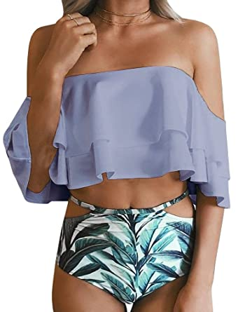 87243540cfef3 Amazon.com  Ferbia Womens Off Shoulder Ruffle Flounce Crop Top Cut Out  Floral Bottoms Two Piece Swimsuits  Clothing