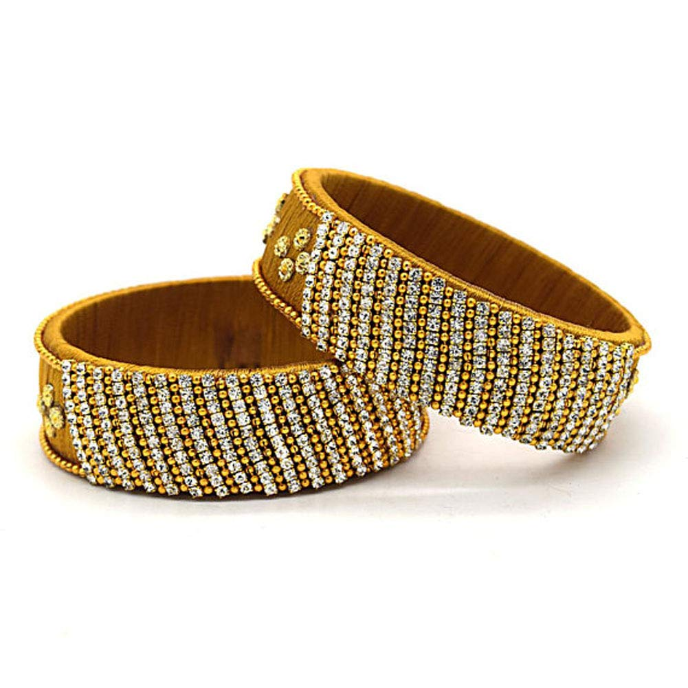 GOELX Festive Offer Designer Elegant 2 PC Golden Rhinestone Silk Thread Kada Bangles Bracelet Set