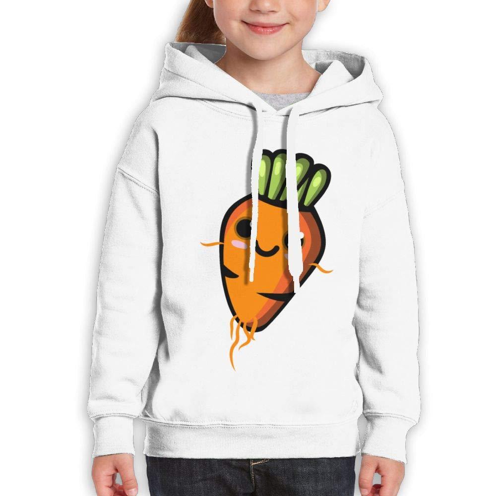Qiop Nee Cute Cartoon Carrot Unisex Hoodies Print Long Sleeve Sweatshirts for Girl's