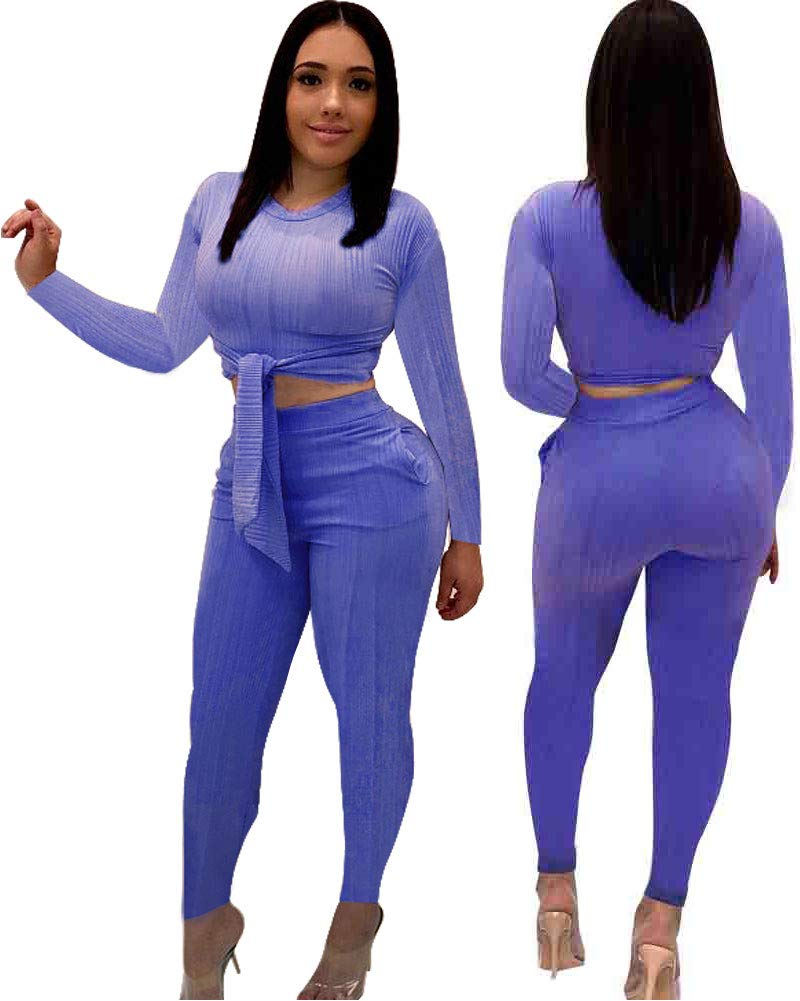 Women Sexy 2 Piece Outfits- Casual Jumpsuits Long Pant Rompers Shirts with Sleeve Pockets Purple S