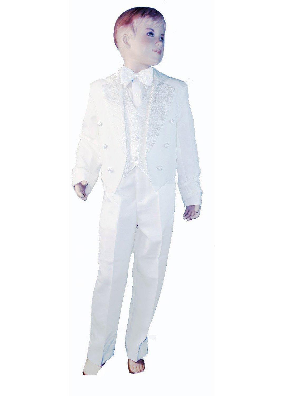 Bébé Garçons Blanc Dos queue 5pièces Costume Smoking–Incs Gilet, Veste avec queues, pantalon, nœud papillon & pour homme blanc blanc 12 mois Baby Best Buys YC05-168 (KC) 1095