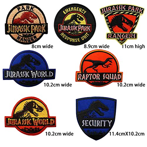 JURASSIC PARK 7 PCS Logo Patch Jurassic World Fallen Kingdom Dinosaur Theme Logo Series New 2018 Movies Embroidered Sew/Iron on Badge DIY Appliques