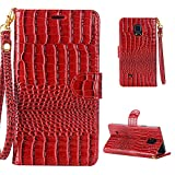 MOONCASE Galaxy Note 4 Case Crocodile Skin PU Leather Card Slot Wallet Bracket Back Case Cover for Samsung Galaxy Note 4 Red