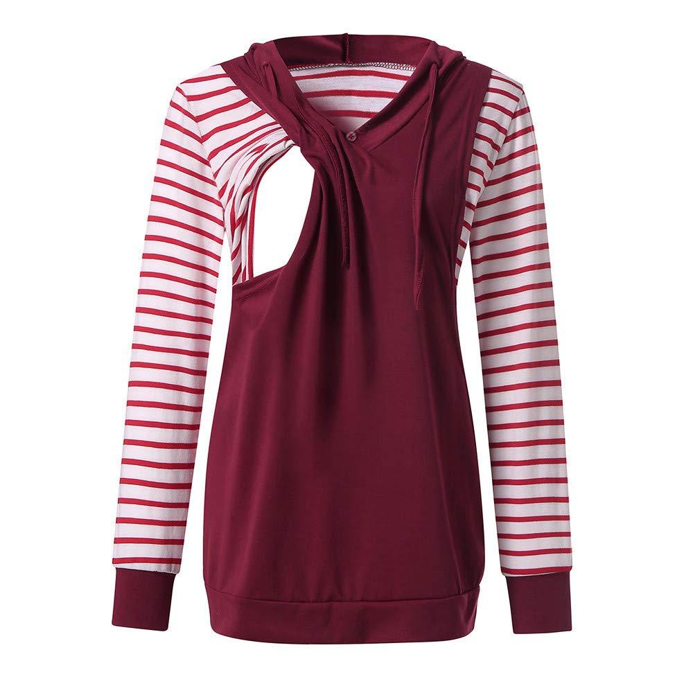 Jchen(TM) Women Nursing Tops Ladies Stripe Long Sleeve Hooded Pregnant Maternity Tank Shirt Mom Breastfeeding Blouse