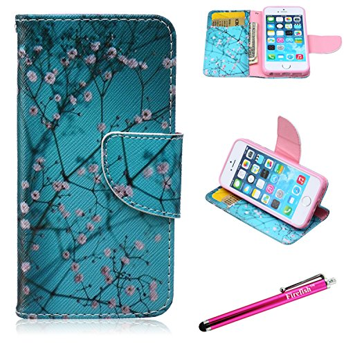 Price comparison product image iPhone 5 Case,5S SE Firefish iPhone 5 Leather Wallet [Bumper] [Kickstand] Lightweight Built-in TPU Double Protection Flap Cover for Apple iPhone 5/5S/SE - Prunus Mume