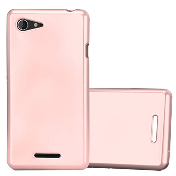 huge selection of 9b613 ed469 Amazon.com: Cadorabo Case Works with Sony Xperia E3 in Metallic ROSÉ ...