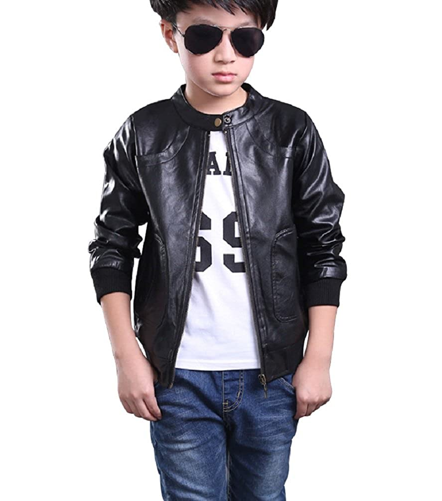 fb056d3005cf YoungSoul Kids Boys Faux Leather Motorcycle Jackets Children Biker ...