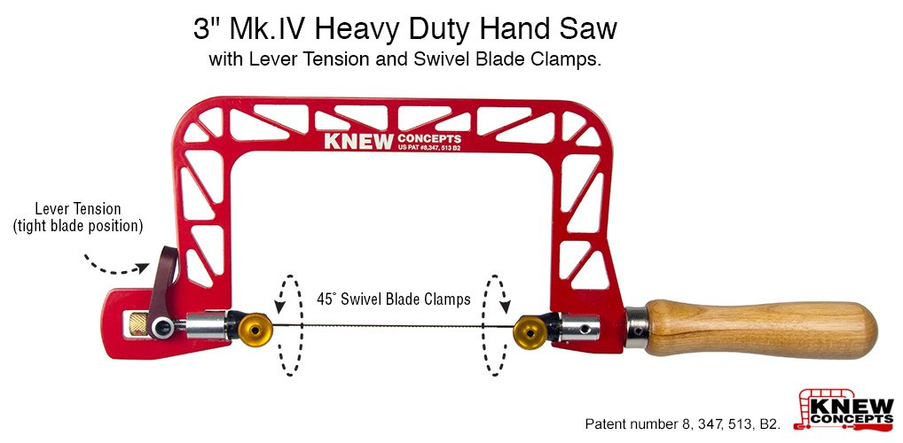 Knew Concepts 3'' Mk.IV Heavy Duty Hand Saw with Lever Tension and Swivel Blade Clamps