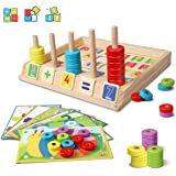Lydaz Wooden Puzzles Counting Toys, Montessori Preschool Learning Educational Math Toys for Toddlers, Matching Shape…