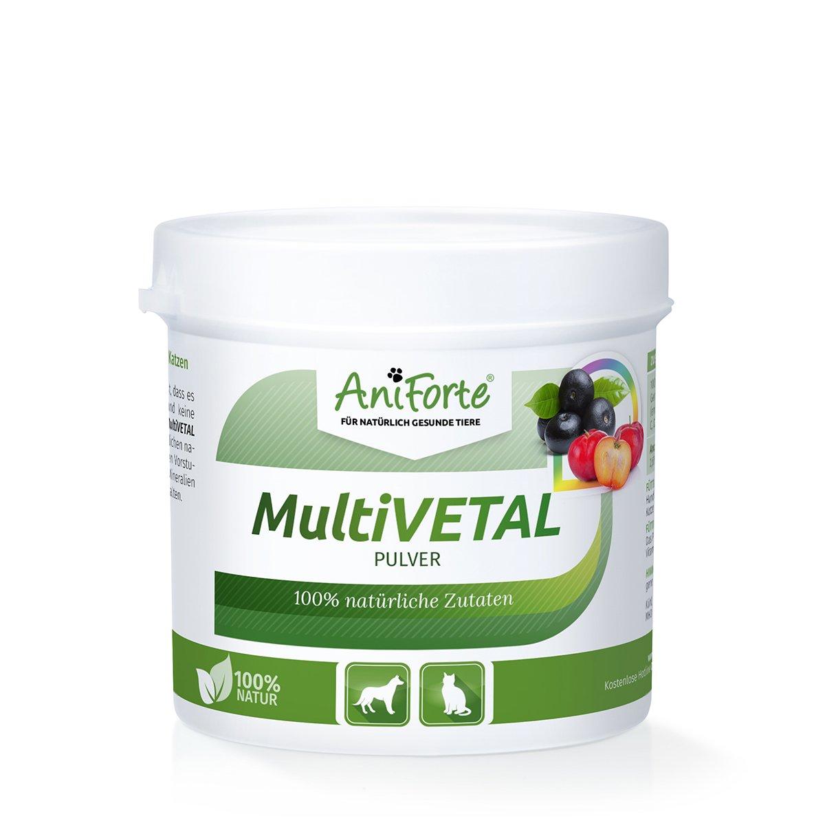 AniForte Poudre de multive Vallée Poudre 100g–Vitamine Multi Naturelle avec Acérola & Acai–Produit Naturel pour Chiens & Chats Görges Naturprodukte GmbH