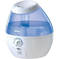 Vicks Mini Filter Free Cool Mist Humidifier Small Humidifier for Bedrooms, Baby, Kids Rooms, Auto-Shut Off, 0.5 Gallon Tank for 20 Hours of Moisturized Air, Use with Vicks VapoPads