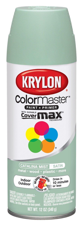 Krylon K05352907 ColorMaster Paint + Primer, Satin, Catalina Mist, 12 oz.