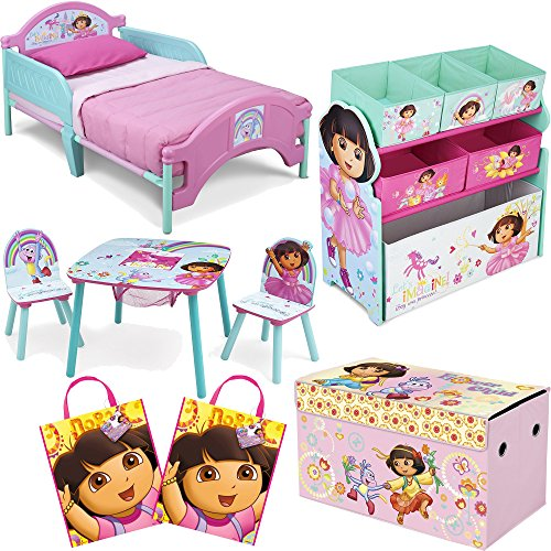 Nickelodeon Delta Children Dora The Explorer 8-Piece Furniture Set - Plastic Toddler Bed, Table and Chair Set, Multi Bin Toy Organizer, 2-Pack Large Favor Bag and Collapsible Storage (Delta Dora The Explorer Bed)