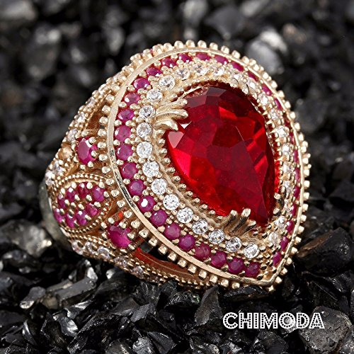 Cut Stone Pear (Pear Cut Red Zircon Stone 925 Sterling Silver and Bronze Ottoman Handmade Ring Size 7)