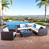 Cheap Francisco Outdoor 7-piece Brown Wicker Seating Sectional Set with Cushions