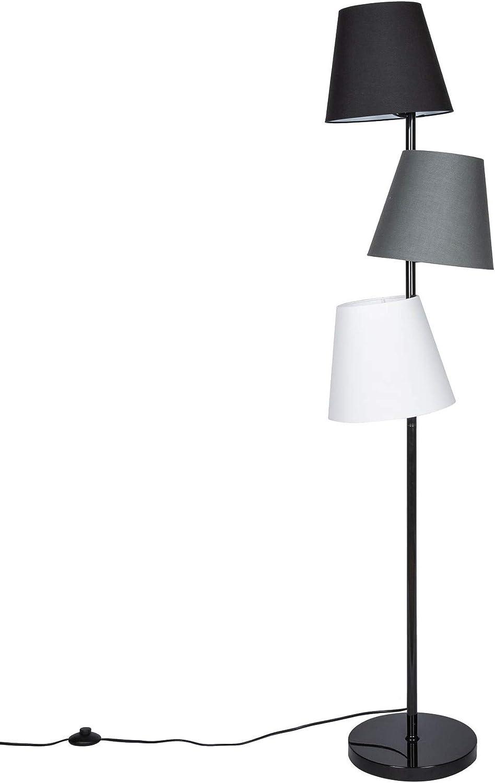 3 Flammige Retro Design Stehlampe Levels 163cm Schwarz Grau Leinen