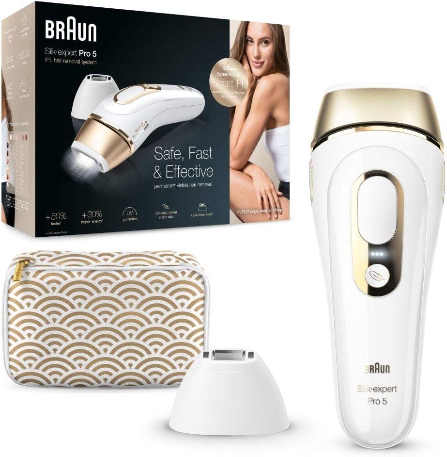 Braun Silk-Expert Pro 5 PL5137 IPL Haarentfernungsgerät für dauerhaft sichtbare Haarentfernung -
