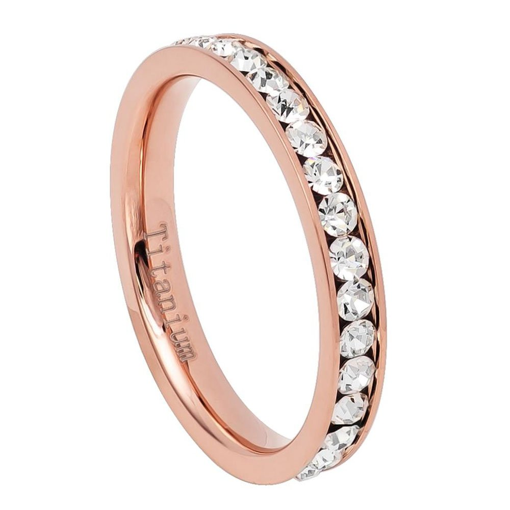 3MM Comfort Fit Titanium Wedding Band Rose Tone Round CZ Channel Eternity Titanium Ring (Size 4 to 8)