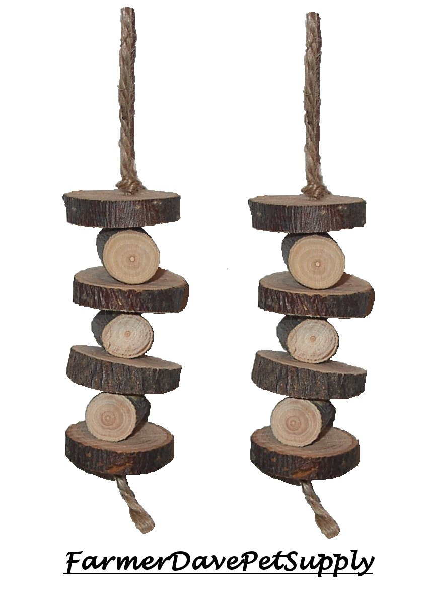 FarmerDavePetSupply Organic Stacked Apple Chew Toy for Small Animals - Dual Pack