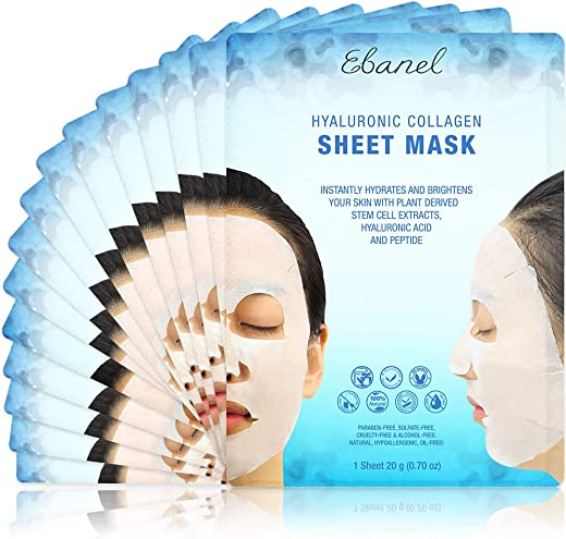 Ebanel 15 Pack Collagen Face Mask, Instant Brightening & Hydrating Face Sheet Mask with Aloe Vera, Hyaluronic Acid, Vitamin C and E, Chamomile, Anti Aging Face Mask with Hydrolyzed Collagen, Peptide
