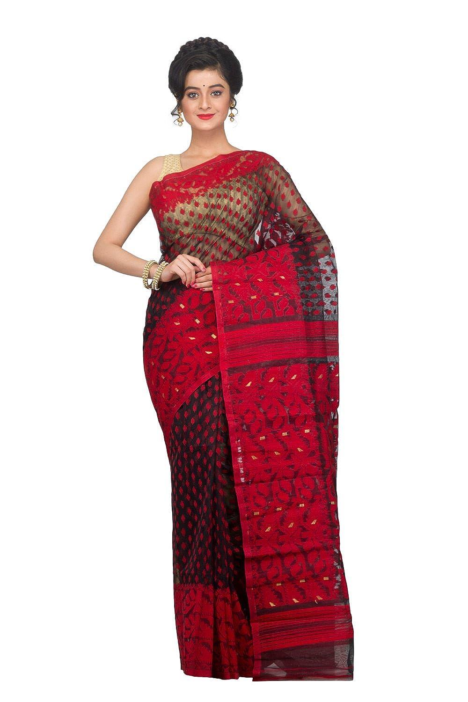 Black and Red Dhakai Jamdani Saree of bengal in Muslin