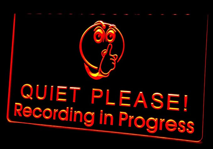 nl239 recording in progress quiet please neon light signs red