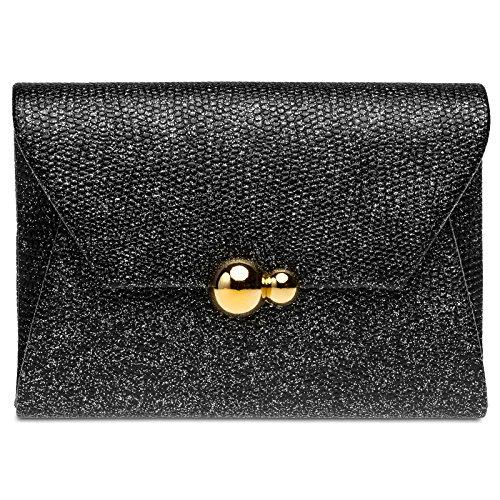 CASPAR TA427 Bolso de Mano Fiesta para Mujer/Clutch Brillante con Estampado de Cocodrilo Negro