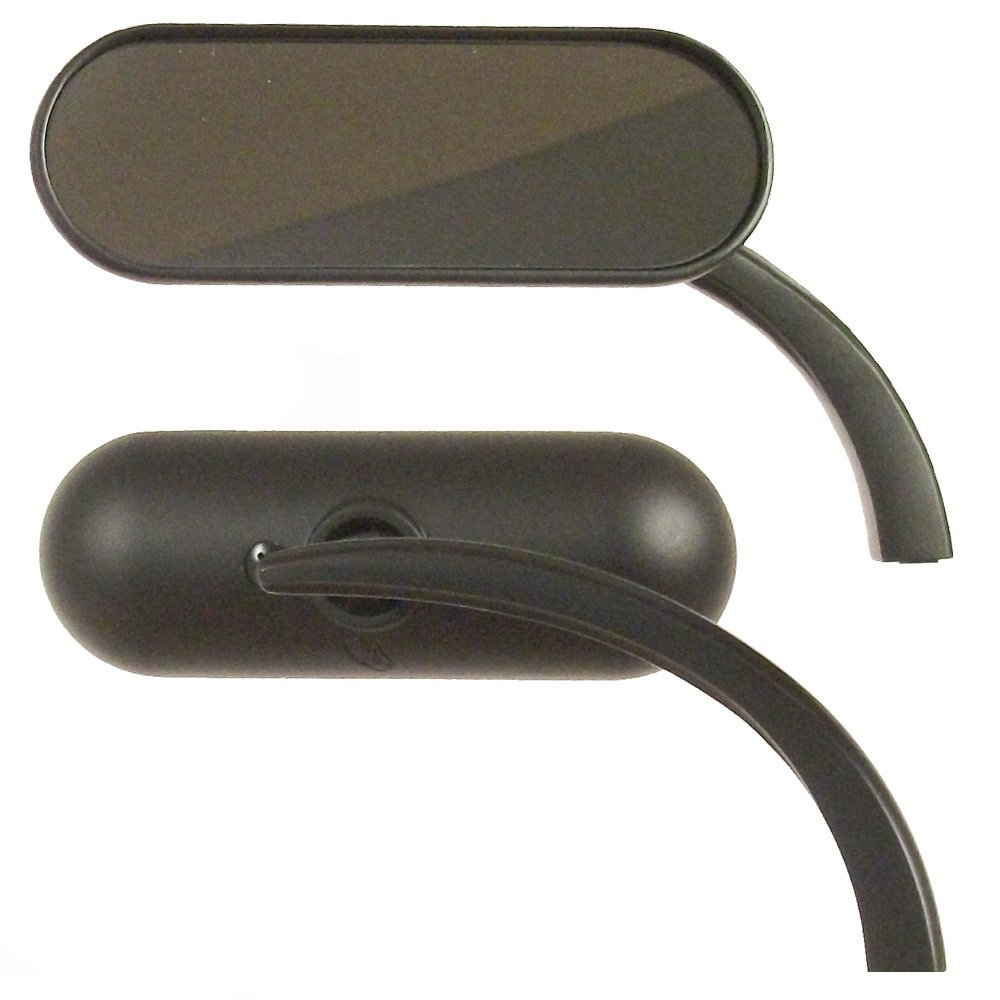 Arlen Ness Black Micro Mini Oval Mirrors for Harley-Davidson - 13-412 13-413