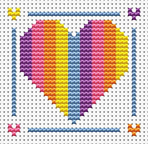 Sew Simple Rainbow Heart Cross Stitch Kit by Fat Cat Cross Stitch