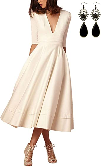 Vestiti Eleganti Amazon.Carinacoco Donna Vestiti Lunghi Da Matrimonio Elegante Collo V