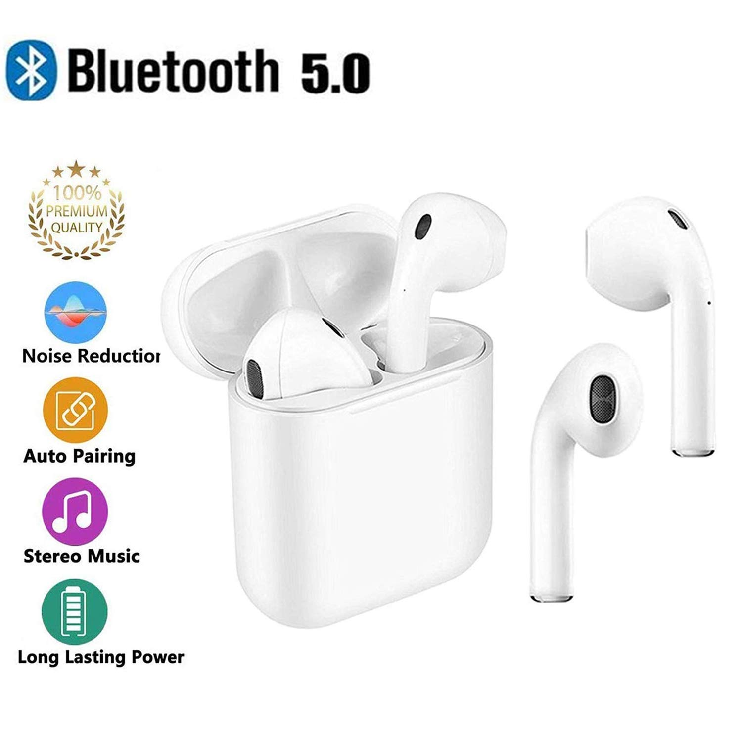 Bluetooth Wireless Headset Touch Bluetooth 5.0 Headphones with Mic Handsfree Sweatproof Mini in-Ear Sports Earphones Noise Cancelling Headsets for Most Bluetooth Smartphones-White