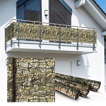 Amazon De Wohnstyle24 Balkon Sichtschutz 6x0 9m Stein Look