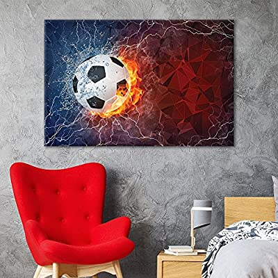 Fascinating Creative Design, Sports Theme Soccer Fire on Abstract Background, Crafted to Perfection