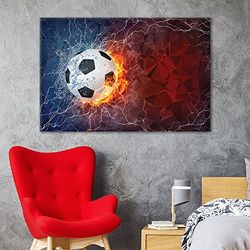wall26 - Canvas Wall Art Sports Theme - Soccer Fire on Abstract Background - Giclee Print Gallery Wrap Modern Home Decor Ready to Hang - 24x36 inches