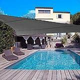 DJH sun shade sail uv block patio sail canopy outdoor patio garden swimming pools (10'x10'x10', Grey)
