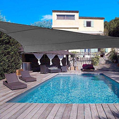 DJH sun shade sail uv block patio sail canopy outdoor patio garden swimming pools (10'x10'x10', Grey) by DJH