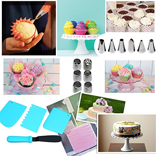 Smart Living Cake Decoration Set   50 Pieces Kit   Top-Grade Stainless Steel Bakery Supplies   Set of 6 Russian Piping Tips, 6 Cone Tips, 1 Spatula, Scraper, Cupcake Corer, Fantang Tool and More
